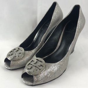 Tory Burch silver wedges 10